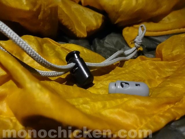 盲点!?寝袋で肩が寒い時の対策 その2 「ドローコードロック交換」 (その後に発生する注意点と思われるところも記載します) 画像